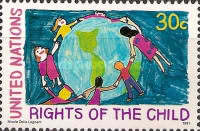 [The 30th Anniversary of U.N. Declaration on the Rights of the Child and the 1990 World Summit on Children, New York - Children's Drawings, type RO]