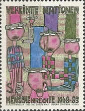[The 35th Anniversary of Human Rigths. Paintings by Hundertwasser-, type AH]