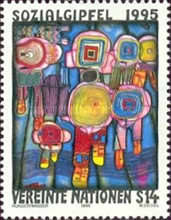 [Social Summit in Copenhagen  Painting by Hundertwasser, Typ FT]