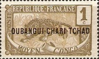 """[Middle Congo Postage Stamps Overprinted """"OUBANGUI-CHARI-TCHAD"""", type A]"""