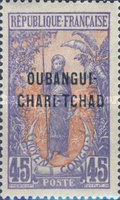 """[Middle Congo Postage Stamps Overprinted """"OUBANGUI-CHARI-TCHAD"""", type A11]"""
