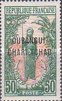 """[Middle Congo Postage Stamps Overprinted """"OUBANGUI-CHARI-TCHAD"""", type A12]"""