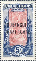 """[Middle Congo Postage Stamps Overprinted """"OUBANGUI-CHARI-TCHAD"""", type A16]"""