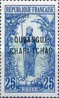"""[Middle Congo Postage Stamps Overprinted """"OUBANGUI-CHARI-TCHAD"""", type A7]"""