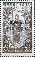 """[Middle Congo Postage Stamps Overprinted """"OUBANGUI-CHARI-TCHAD"""", type A9]"""