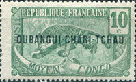 """[Middle Congo Postage Stamps Overprinted """"OUBANGUI-CHARI-TCHAD"""", type D1]"""