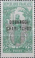 """[Middle Congo Postage Stamps Overprinted """"OUBANGUI-CHARI-TCHAD"""", type D2]"""
