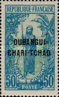 """[Middle Congo Postage Stamps Overprinted """"OUBANGUI-CHARI-TCHAD"""", type D4]"""