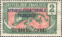 """[Middle Congo Postage Stamps Overprinted """"AFRIQUE EQUATORIALE - FRANCAISE"""", type F1]"""