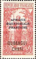 """[Middle Congo Postage Stamps Overprinted """"AFRIQUE EQUATORIALE - FRANCAISE"""", type F10]"""