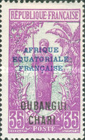 """[Middle Congo Postage Stamps Overprinted """"AFRIQUE EQUATORIALE - FRANCAISE"""", type F11]"""