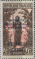 """[Middle Congo Postage Stamps Overprinted """"AFRIQUE EQUATORIALE - FRANCAISE"""", type F16]"""