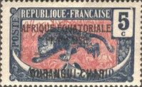 """[Middle Congo Postage Stamps Overprinted """"AFRIQUE EQUATORIALE - FRANCAISE"""", type F4]"""