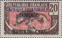 """[Middle Congo Postage Stamps Overprinted """"AFRIQUE EQUATORIALE - FRANCAISE"""", type F8]"""
