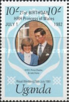 [The 21st Anniversary of the Birth of Princess of Wales - Issues of 1981 Overprinted
