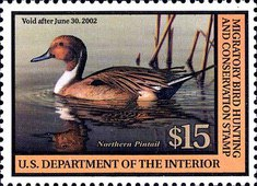 [Department of the Interior Duck Stamps - Northern Pintail, type BK]