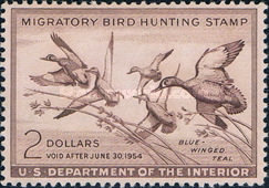 [Department of the Interior Duck Stamps - Blue-winged Teals, Typ O]