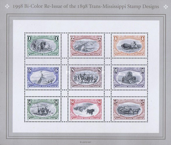 [The 100th Anniversary of the 1898 Trans-Mississippi Stamp Designs - Re-Issued in 2 Colors, type ]