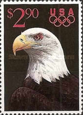 [Priority Mail - Bald Eagle & Olympic Rings, type BVL]