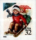 [Midnight Angel and Child Sledding - Self-Adhesive, Typ COW]