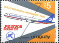 [Inaugural Flight to Madrid of Pluna Airline, type AIA1]
