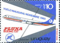 [Inaugural Flight to Madrid of Pluna Airline, type AIA2]