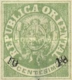 [Coat of Arms Stamps of 1864 Surcharged, type H1]