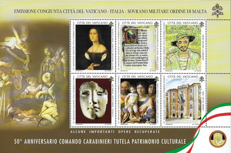 [The 50th Anniversary of the Carabinieri for the Protection of Cultural Heritage and Anti-Counterfeiting - Joint Issue with Italy, Typ ]