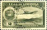 [Airmail - La Guaira, National Pantheon and Oil Wells, Postage Stamps of 1938 Perforated