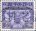 [Airmail - The 100th Anniversary of Arrival of Bolivar's Ashes at Caracas and Liberator's Monument Fund  - Postage Stamp of 1942 Perforated