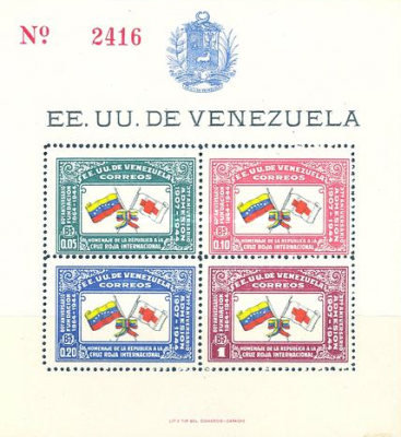 [Airmail - The 80th Anniversary of International Red Cross and the 37th Anniversary of Adherence of Venezuela, type ]