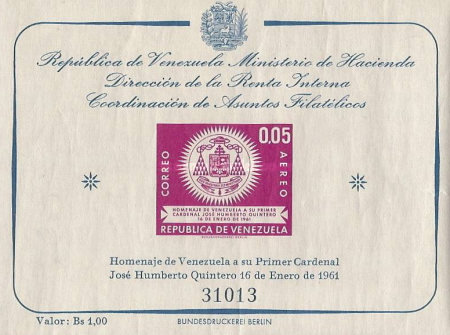[Airmail - Elevation to Cardinal of Jose Humberto Quintero, type ]