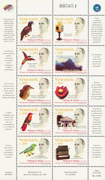 [The 100th Anniversary of Venezuela-United States Solidarity - Each showing a Portrait of William Phelps, Ornithologist and Entrepreneur, тип ]