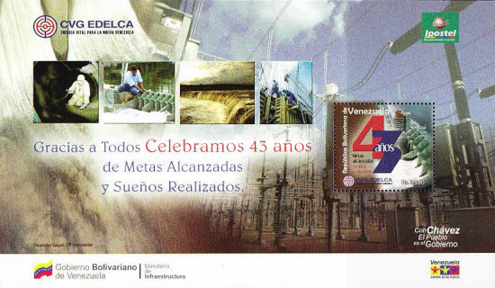 [National Stamp Exhibition and the 43rd Anniversary of CVG EDELCA, Electricity providers, type ]
