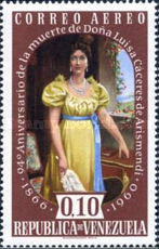 [Airmail - The 94th Anniversary of the Death of Luisa Caceres de Arismendi, 1799-1866, type AYX]
