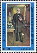 [Airmail - The 150th Anniversary of the Birth of Caracciola Parra Olmedo, Lawyer, 1819-1908, type BRN]