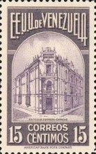 [Gathering Coffee Beans, Bolivar and General Post Office, Caracas, type HH]