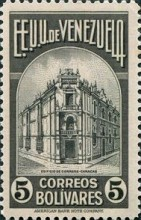 [Gathering Coffee Beans, Bolivar and General Post Office, Caracas, type HH5]