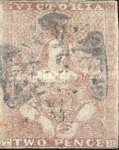[Queen Victoria - 1st Ham Printing. Narrow Line of Colour Above