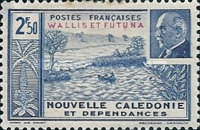 """[Marshal Pétain - New Caledonia Stamps of 1941 Overprinted """"WALLIS ET FORTUNA"""", type P1]"""