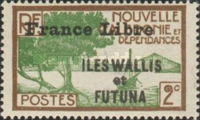 """[Adherence to General de Gaulle - Stamps of 1930-1940 Overprinted """"France Libre"""", type Q1]"""