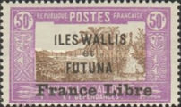 """[Adherence to General de Gaulle - Stamps of 1930-1938 Overprinted """"France Libre"""", type Q14]"""