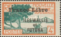 """[Adherence to General de Gaulle - Stamps of 1930-1940 Overprinted """"France Libre"""", type Q3]"""