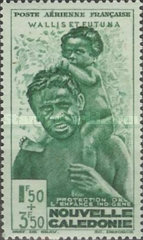 """[Children's Fund - New Caledonia Postage Stamps of 1942 Overprinted """"WALLIS ET FUTUNA"""" and surtaxed, type R]"""