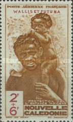 """[Children's Fund - New Caledonia Postage Stamps of 1942 Overprinted """"WALLIS ET FUTUNA"""" and surtaxed, type R1]"""