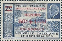 "[Colonial's Fund - Previous Stamps Overprinted ""OEVRES COLONIALES"" and Surcharged, type U]"
