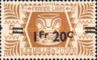 [French Free Administration Stamps of 1944 Surcharged, type X3]