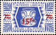 [French Free Administration Stamps of 1944 Surcharged, type X7]
