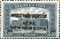 [Hungary Postage Stamps Handstamped Overprinted - Reaper & Parliament, type E10]