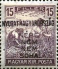 [Hungary Postage Stamps Handstamped Overprinted - Reaper & Parliament, type E2]